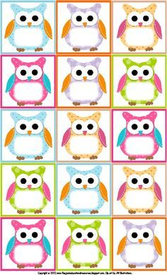 Free Owl Printables | Free Printable Owl Labels | Owl Theme Classroom                                                                                                                                                      More