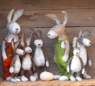 "bunnies (Love the egg...~Farmin' Family Bunnies~~~They go by the name ""DownEasters""...~~~tee hee...) :))"