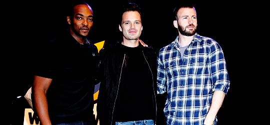 Anthony Mackie, Sebastian Stan and Chris Evans at Wizard World Comic-Con Philadelphia at the Pennsylvania Convention Center on June 4, 2016.