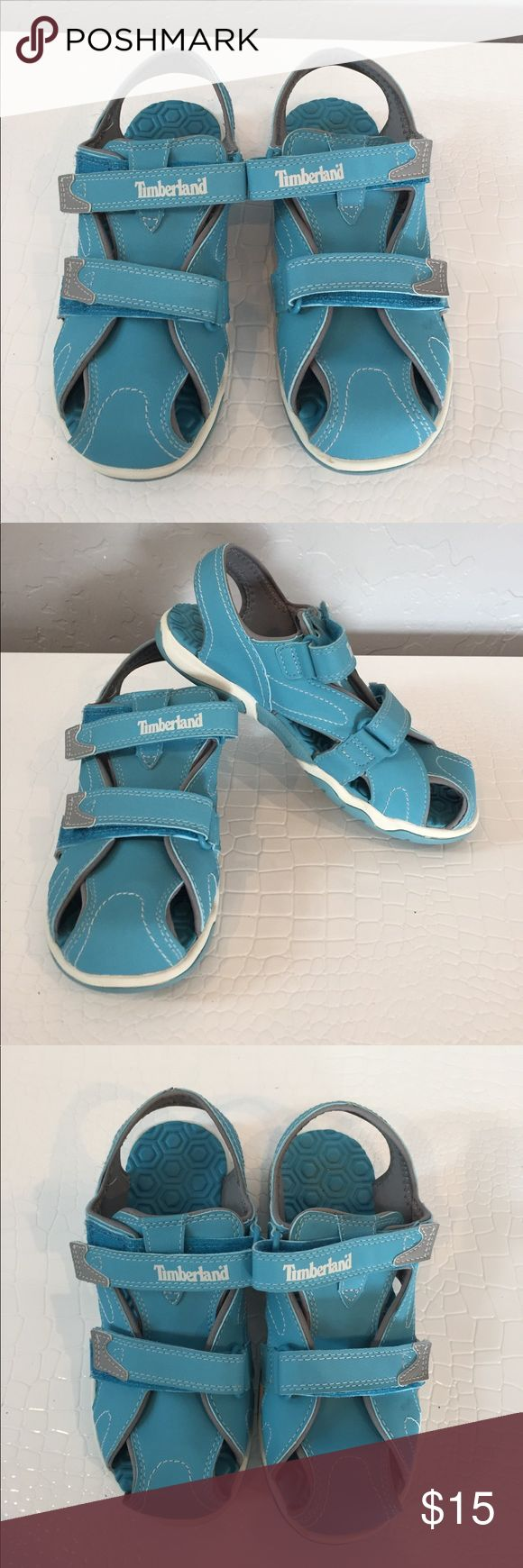 Baby Blue Girls Timberland water shoes size 3 These have been worn 1 time. They are practically new. Comfortable. The 2 Velcro straps make it easy to adjust the shoe to the child foot width Timberland Shoes Water Shoes