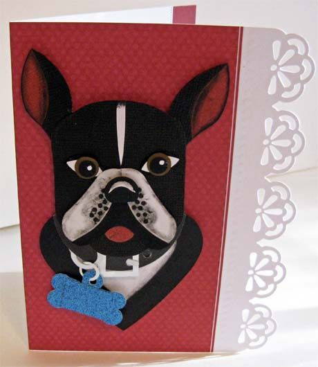 This is Ike, a Boston Terrier. He is made from the following punches: SU Christmas stocking, Blossoms Petals, and various circles. Basic head shape is from Labels Collection Framelits. Body from Hearts Collection Framelits.