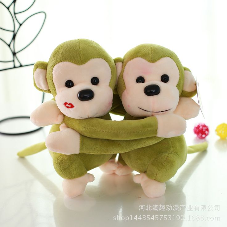 a pair of cute hug monkey toys plush green lovers monkey dolls gift about 22cm //Price: $US $16.38 & FREE Shipping //     #rchelicopters