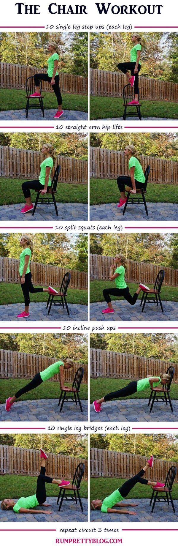 Cardio & Strength Workouts for the Home or Gym including the Chair Workout from Run Pretty Blog