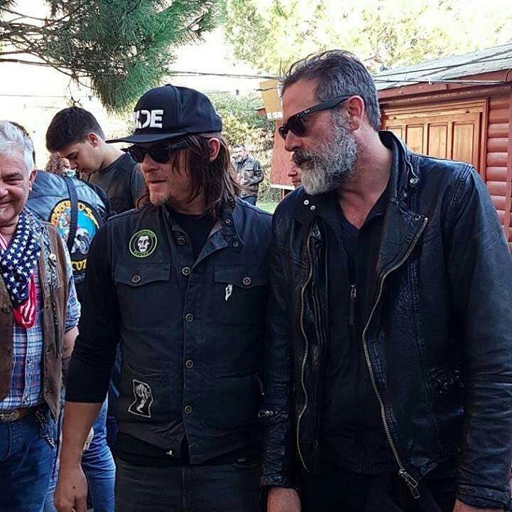 Norman Reedus and Jeffrey Dean Morgan filming Ride With Norman Reedus S2 in Cataluna, Spain at the La Cantera Bikerbar Bar = @laconterabikerbar #thewalkingdead #twd #thewalkingdeadseason7 #twdfamily #twdfinale #amc #walkingdead #rickgrimes #andrewlincoln #norman #normanreedus #daryl #dixon #michonne #chandler #chandlerriggs #carl #carlgrimes #carol #negan #lucille #maggie #glenn #love