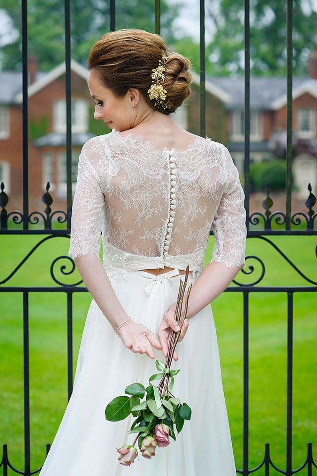 A cute separate bodice in chantilly lace. The skirt is a layer of chiffon over a satin bias cut skirt. Elegant and classic with a modern twist