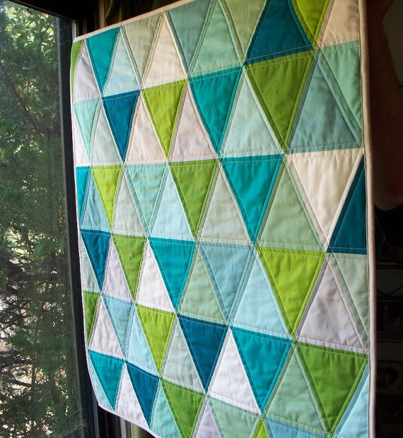 Modern Triangle Baby Quilt in Aquas, Blues, Greens  Neutrals - Love these colors!