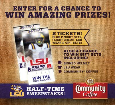 For your chance to WIN 2 LSU tickets and more, play the new Community® Coffee Half-Time Sweepstakes! Enter the sweepstake and play the game. Can you beat the top scores? https://apps.facebook.com/225658680922229/ Good luck!