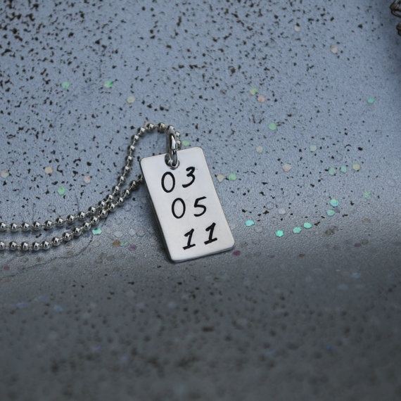 Sobriety date handstamped necklace silver by Studio463 on Etsy, $35.00