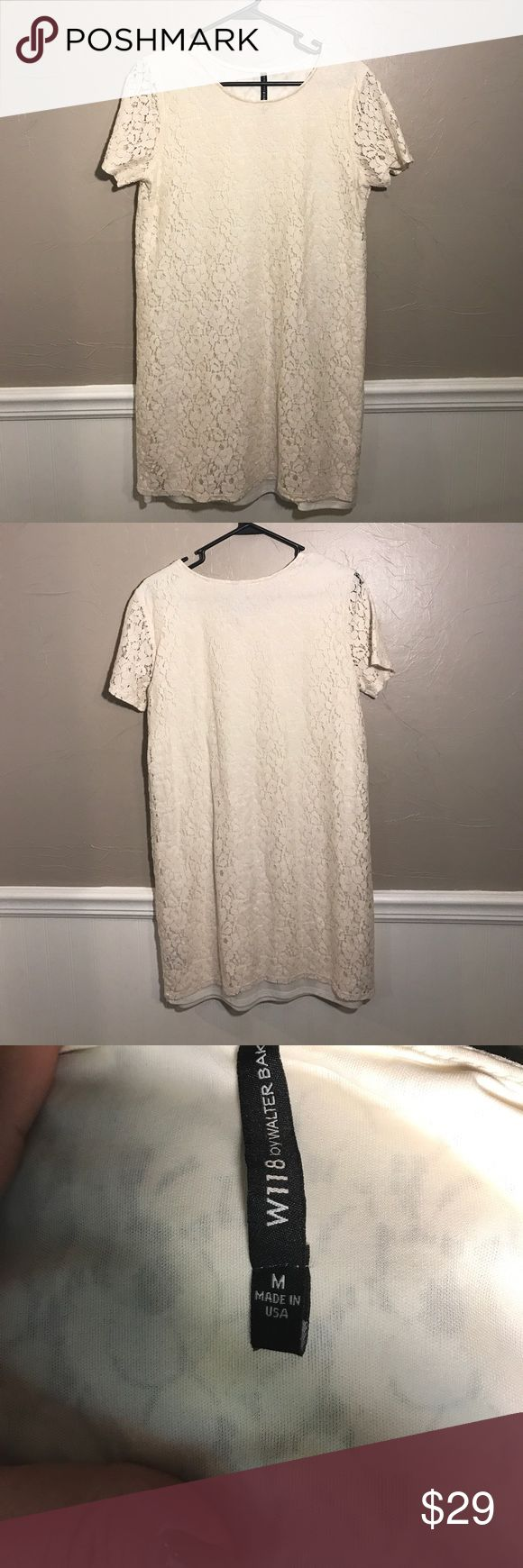 W118 by Walter Baker Ivory Lace shift dress W118 By Walter Baker Ivory Lace lined Shift dress with short sleeves! Perfect for Spring Summer, Bridal shower or graduation dress as well.  Excellent Pre-loved Condition no trades! W118 by Walter Baker Dresses