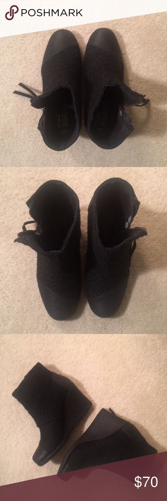 BRAND NEW Toms black wedge booties, size 7 BRAND NEW Toms black wedge booties, size 7; zipper on the side to zip up. Super comfortable to wear and rare! Cannot find these in store anymore. Only worn once to try on so these are brand new! Selling these because I have another pair! Purchased for $130 so trying to recover some of the cost. Model pic for reference! Toms Shoes Ankle Boots & Booties