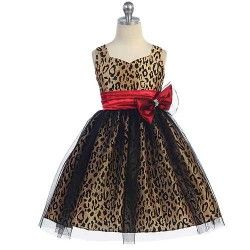 A fabulous special occasion champaigne dress for your little girl by Good Girl. This dress is sleeveless and has a gorgeous animal print throughout with a mesh overlay. Satin sash has a rhinestone bow added to the front for spectacular finish. Good G
