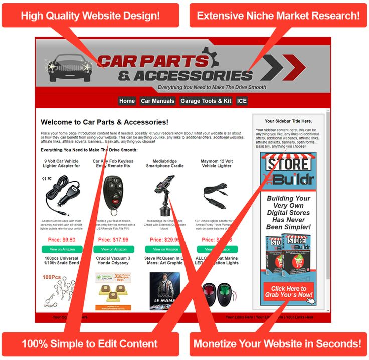 Car Parts And Accessories - The Ultimate 'Done For You' Niche Website Store!