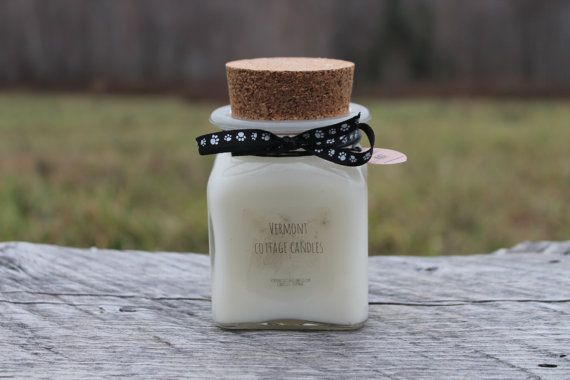 Recycled Square Glass Jar Candle with Cork by VermontCottageCandle proceeds benefit Pointer Rescue Organization