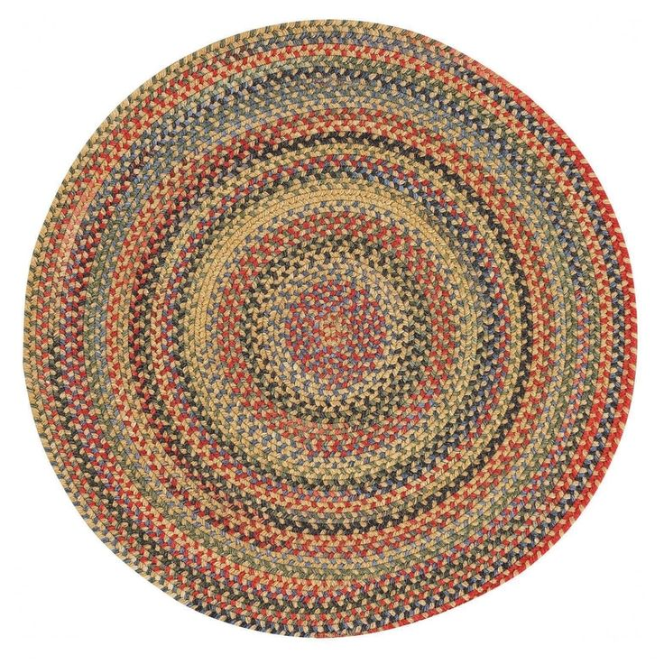 "Capel Rugs Songbird Gold Round Braided Rugs (9'6"" x 9'6""), Size 9' x 9' (Nylon, Stripe)"