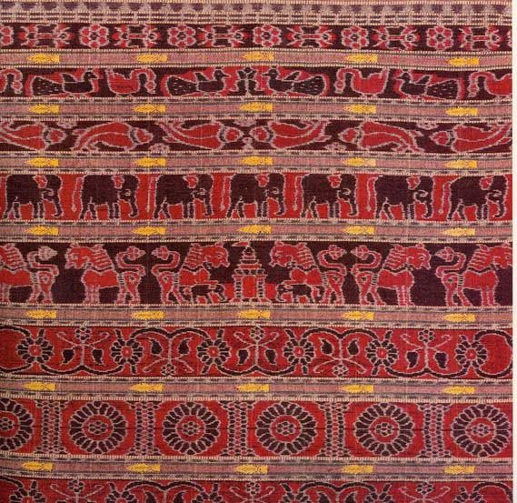 Ikat (loosely - to build) is a form of yarn-dyed weaving traditionally practiced in Orissa, Andhra Pradesh and Gujarat in India. It involves the measurement and resist dyeing of the yarn BEFORE being mounted on the look and a fine eye for weaving.