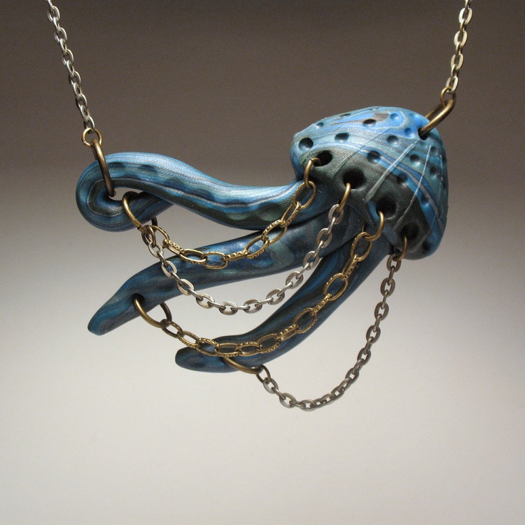 Jumping Jellyfish Necklace - Hand-sculpted, Polymer Clay