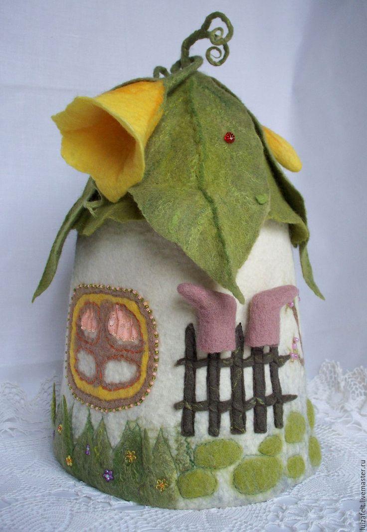 Купить Интерьерный домик-грелка для чайника Домик лесного эльфа - салатовый, зеленый домик