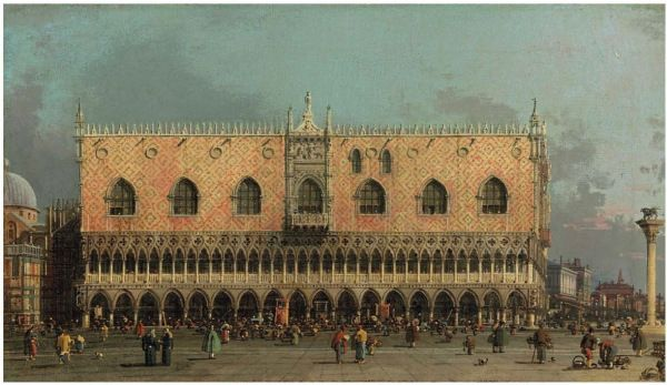 Giovanni Antonio Canal, called Canaletto (Venice 1697 -1768) The Piazza San Marco: the Northeast Corner, and The Piazzetta: looking East, with the Ducal Palace oil on canvas: each 8 x 16 in. (20 x 41 cm.) – a pair