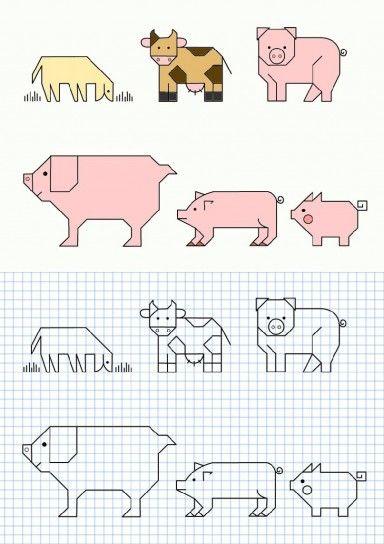 Cornicette per bambini a quadretti maiali