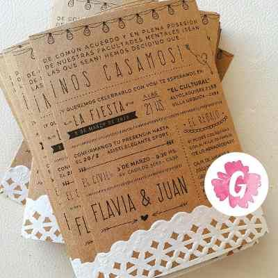 Invitaciones Tarjetas Casamiento Papel Madera Kraft Blonda - $ 13,00