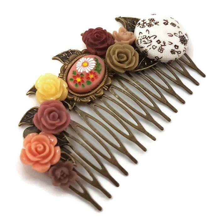 Brown Wedding Comb-Bridesmaid Comb-Cream Floral Comb-Flower Hair Comb-Bobby Pin-Hair Slides-Bridal Hair Clip-Cameo Hair Accessory-Peach comb