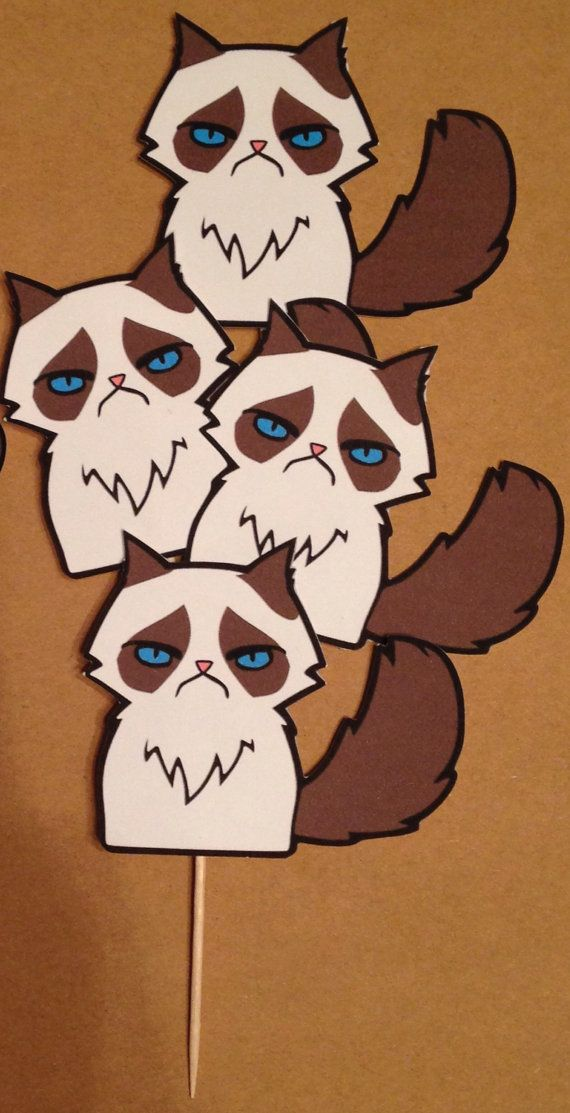 Set of 10 Grumpy Cat Cupcake Toppers / by DandelionPaperDecor