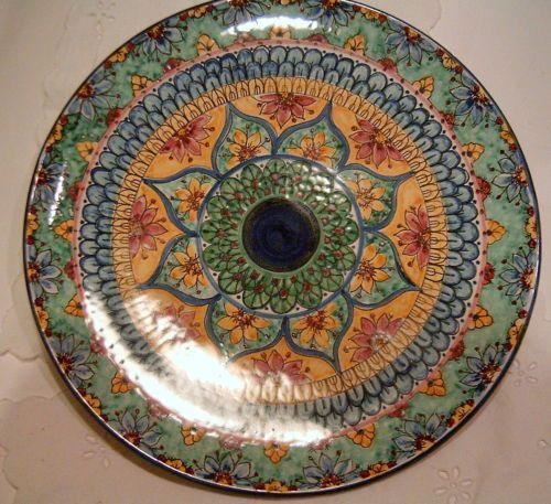 Piatto murale in maiolica.Mandala 36cm diametro