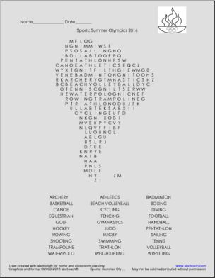 Word Search: 2016 Summer Olympics - Sports - <p>Word search in the shape of Brazil. Includes 2016 Summer Olympic sports vocabulary.</p>
