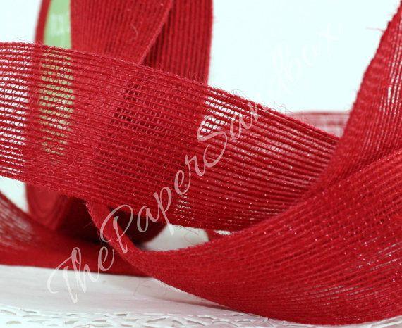 "Rood jute lint, 1.5"" breed lint door de yard, Kerstmis, rood lint, Gift Wrapping, kransen, bruiloft, slingers, Party Supplies"