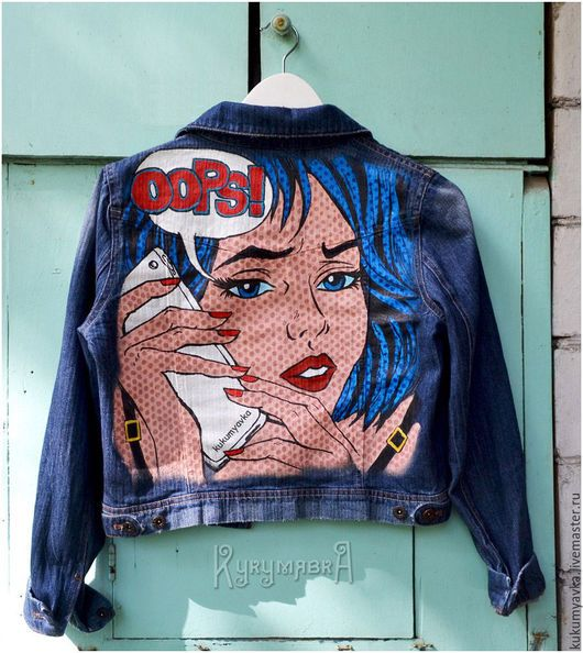 Верхняя одежда ручной работы. Ярмарка Мастеров - ручная работа. Купить Джинсовая куртка с ручной росписью в стиле поп-арт. Handmade.