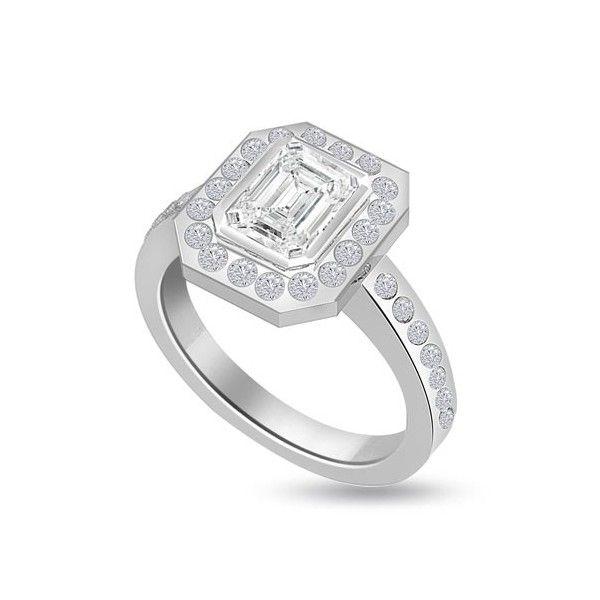 ANELLO CLUSTER CON DIAMANTE 18CT ORO BIANCO | Anello Culster. Il totale carati dei diamanti per questo anello varia da 0.55ct a 0.90ct. La pietra centrale taglio smeraldo e` disponibile da 0.23ct a 0.58ct. La pietra centrale e` circondata da 18 pietre con ulteriori 14 pietre sul gambo tutte taglio brillante sono 0.01ct ciascuno per un peso totale di 0.32ct. Tutte le pietre circostanti e laterali sul gambo sono montate in un incastonaturta a battita.