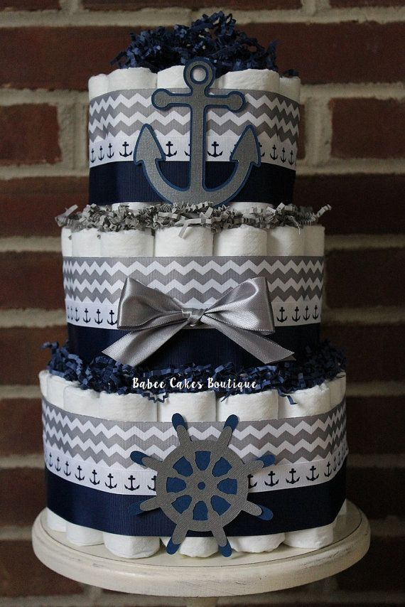 3 Tier Nautical Diaper Cake Gray and Navy by BabeeCakesBoutique