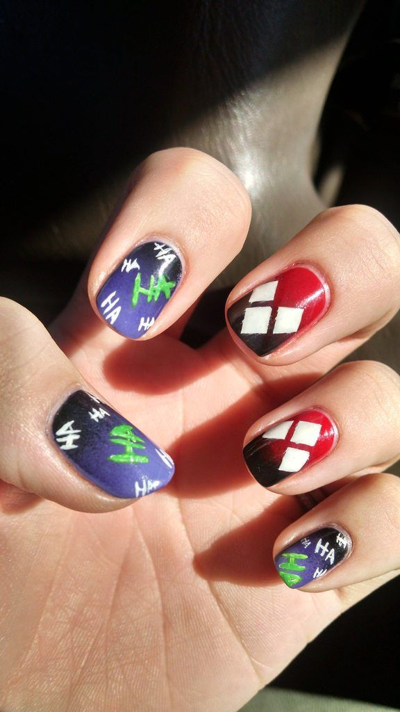 Cute Nail Designs — Decided to add a Harley Quinn twist to my Joker...