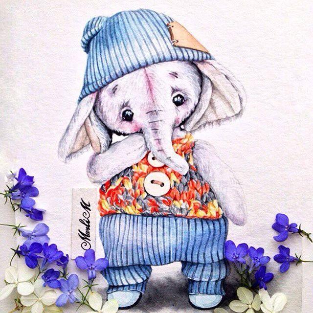 Слоненок Бобадля @turchenko.anna #elephant#слоненок#handmade#рисунок#акварель#иллюстрация#drawing#watercolor#artwork#illustration#sketch#sketching