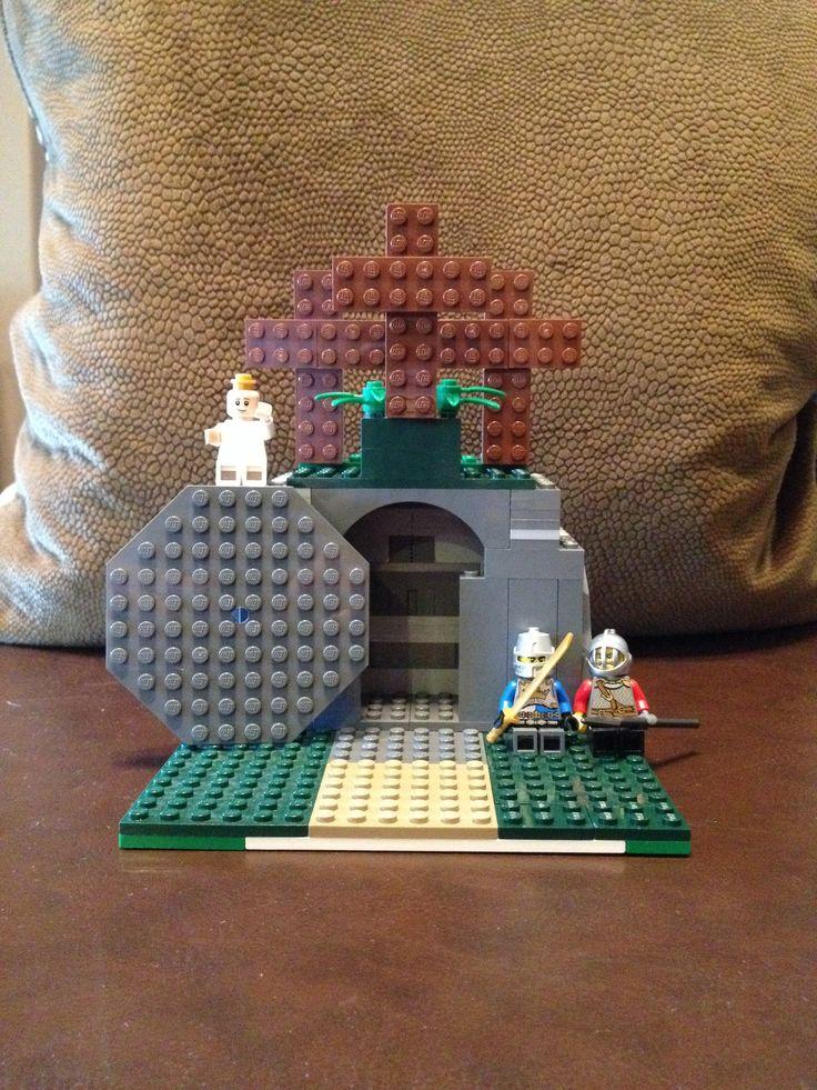 """Lego empty tomb """"He is not here He is Risen!"""" Jesus Resurrection"""
