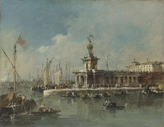 This scene by Francesco Guardi shows the entrance to the Grand Canal with the...