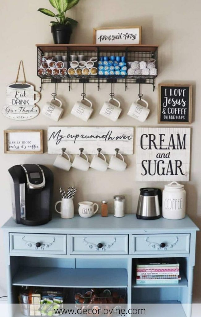 Cheap Decorating Ideas To Create A Small Coffee Corner In The Kitchen Coffee Bar Home Decor Bar Furniture