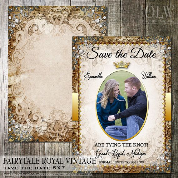 Vintage Fairytale Royal Wedding Save the Date with photo. This elegant save the date card is in golden tones on a vintage paper background. Faux pearls and rhinestones grace the edges.