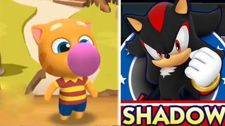 My Talking Tom cat  Gold Run Ginger VS Sonic Dash 2 Sonic Boom Shadow ga...