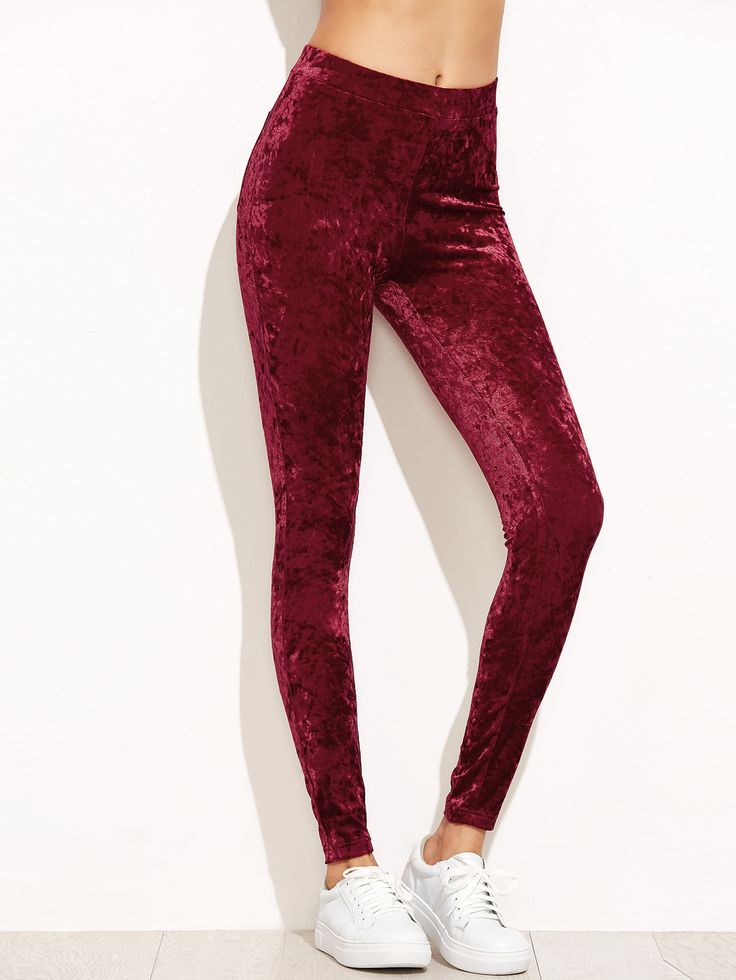 Shop Burgundy Crushed Velvet Leggings online. SheIn offers Burgundy Crushed Velvet Leggings & more to fit your fashionable needs.