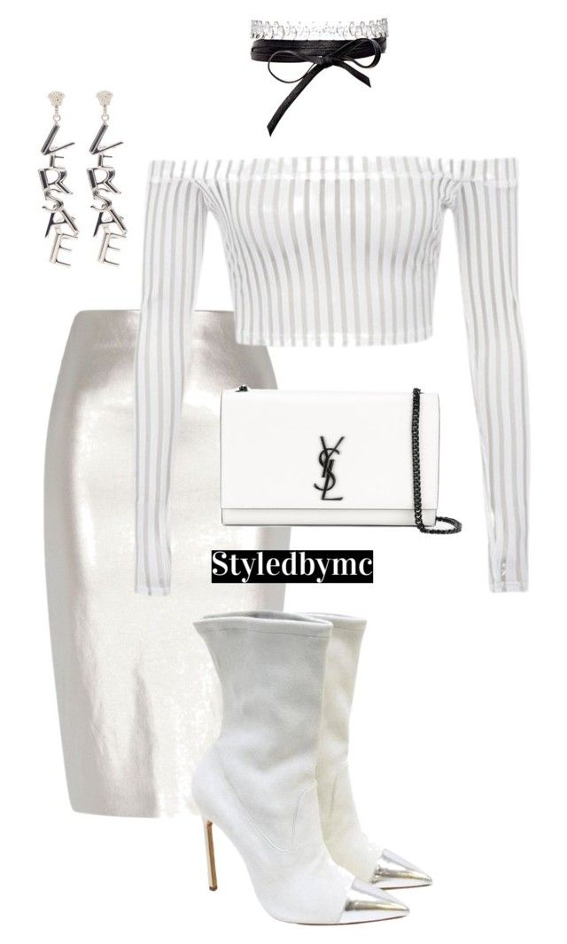 """""""White x silver"""" by styledbymc ❤ liked on Polyvore featuring River Island, Manolo Blahnik, Versace, Yves Saint Laurent and Fallon"""