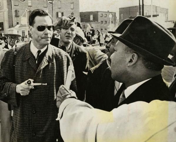 American Nazi Party leader George Lincoln Rockwell confronting Martin Luther King Jr., 1965.