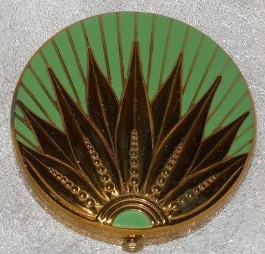 Green Art Deco Design Powder Compact