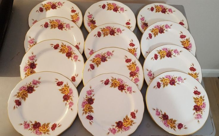 VINTAGE GAINSBOROUGH FINE BONE CHINA PINK FLOWERS SIDE PLATE x 12 | Pottery, Porcelain & Glass, Porcelain/China, Other Porcelain/China | eBay!