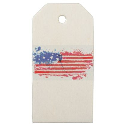 #watercolor grunge American Flag Wooden Gift Tags - #LaborDay Labor Day #labor #day #patriotic #summer #barbecue #bbq #party