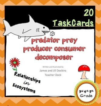 20 Task cards Relationships in Ecosystems Set 1 covering:Predators / PreyConsumers / Producers / DecomposersHerbivores / Carnivores / OmnivoresUse as scoot, review, test prep, or centers.Covers 3rd, 4th and 5th grade science standards: Life Science