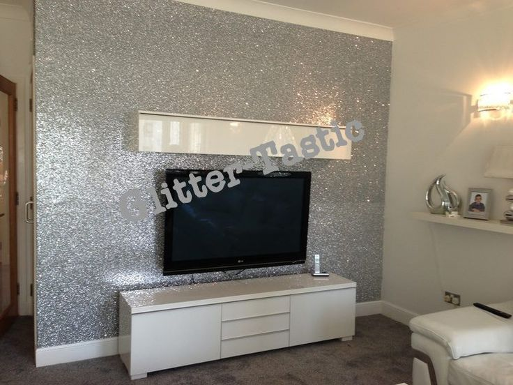Glitter wallpaper dying wallpaper pinterest tvs for Front room feature wallpaper