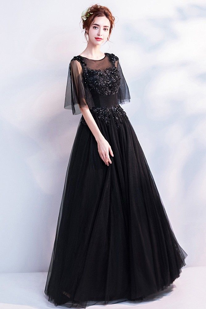 a5bdbc78346 Buy Classic Black Long Tulle Prom Dress With Flare Sleeves at ...