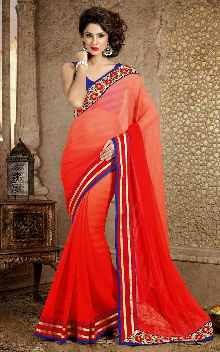 RED CHIFFON EMBROIDERED SAREE - DIFF 28330