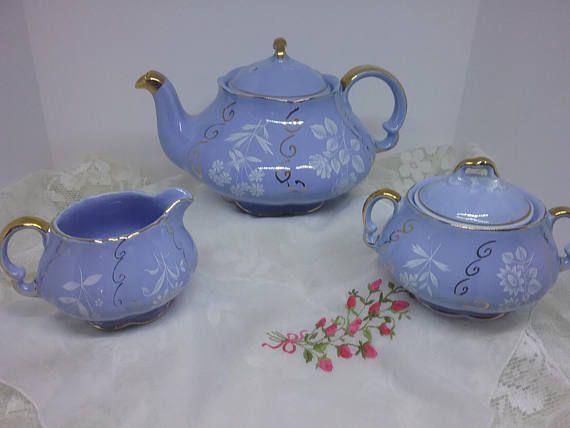 Beautiful Rare Heatmaster Tea Set Baby Blue Gold And White Floral Pattern 1940 S Made In England Tea Pots Tea Tea Set